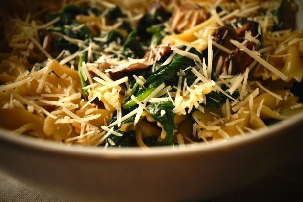 Farfalle with Mushroom and Spinach.2
